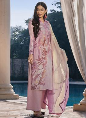Baby Pink Pure Cotton Silk Palazzo Suit
