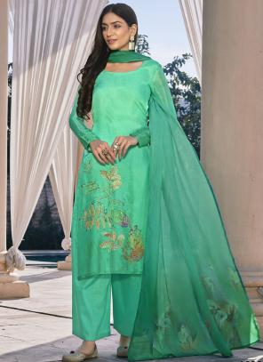 Turquoise Pure Cotton Silk Palazzo Suit