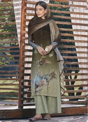 Brown Pure Cotton Silk Palazzo Suit